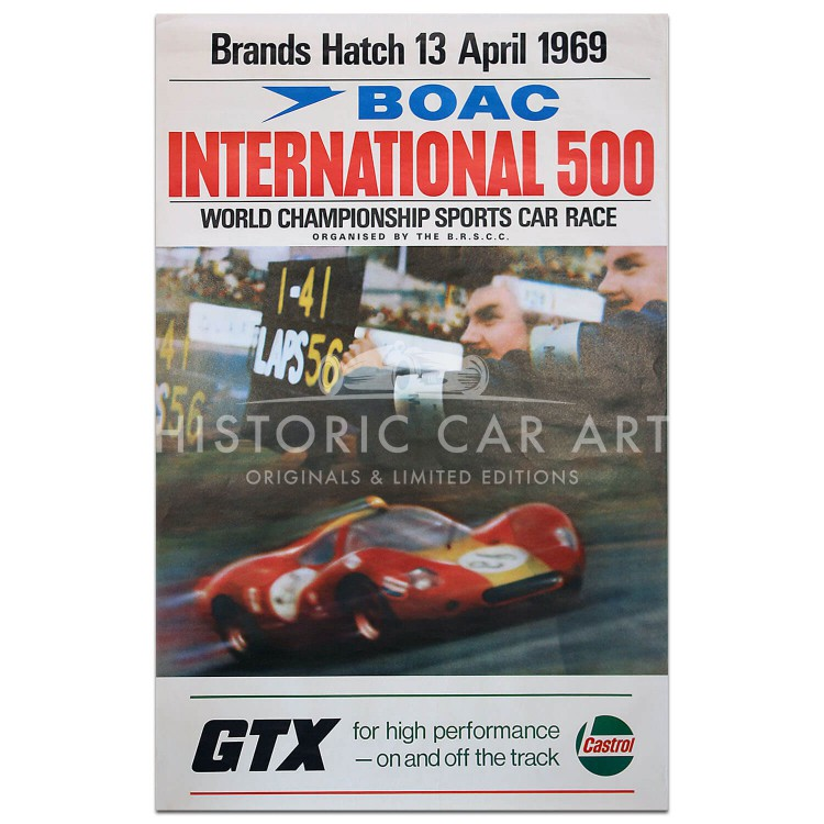 British | BOAC 500km Race Brands Hatch 1969 Poster