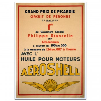 French | Grand Prix de Picardie 1933 - Aeroshell - Alfa Romeo Victory Poster