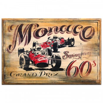 Monaco Grand Prix | Ferrari | 1960s Wooden Sign
