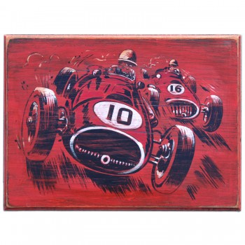Grand Prix Car 1950s Wooden Sign