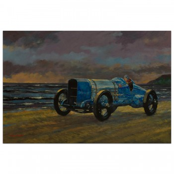 Blue Bird on the Beach | Malcolm Campbell | 1924 Sunbeam Blue Bird | Painting