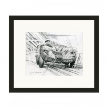 Jaguar C-type | Moss & Walker | Le Mans 24h 1953 | Pencil Sketch