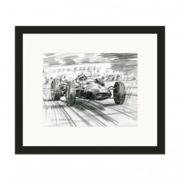 Jim Clark | Lotus 25 | British Grand Prix 1964 | Pencil Sketch