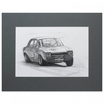 Alan Mann Ford Escort | Frank Gardner | Pencil Drawing