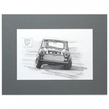 Mini Cooper S | John Rhodes | Silverstone 1968 | Pencil Drawing