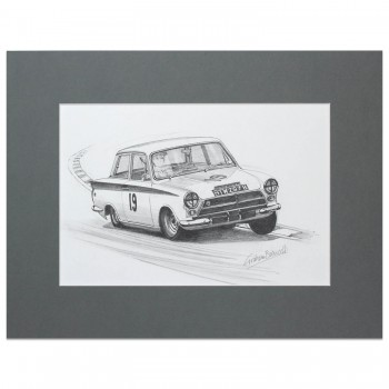 John Whitmore | Lotus Cortina | Pencil Drawing