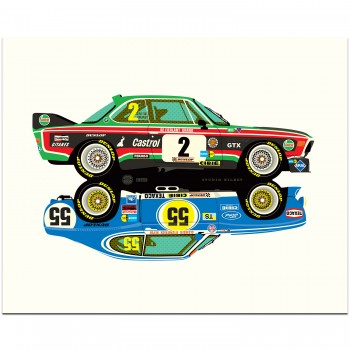 BMW 3.5CSL - Ford Capri 3100 Rivals | Art Print