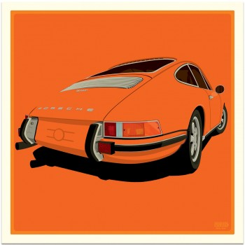 Porsche 911 Rear | Tangerine Orange | Art Print