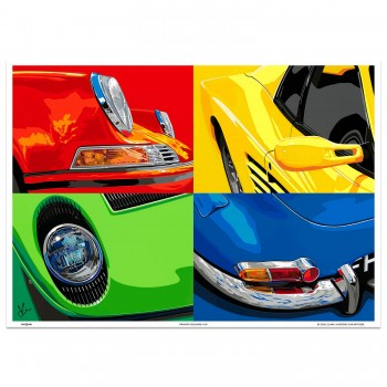 SPEED ICONS: Primary Colours 4-up | Porsche Ferrari Lamborghini Jaguar | Art Print