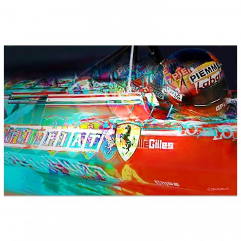 Gilles Villeneuve | Ferrari 126 C2 | Side View | 1982 | Art Print