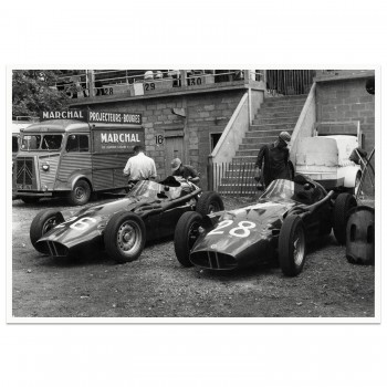 1957 French Grand Prix | BRM Pit | Flockhart & MacKay-Fraser | Photograph