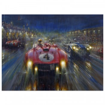 Racing through the Storm | Le Mans 1954 | Ferrari 375 | Artwork