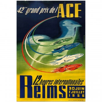 French | Reims International 12 hours | 42nd Grand Prix ACF 1956 | Poster