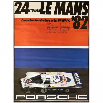 German | Porsche Factory Poster Victory Le Mans 1982 Version 2
