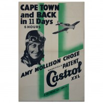 British | Castrol Amy Mollison Record Flight 1936 Poster