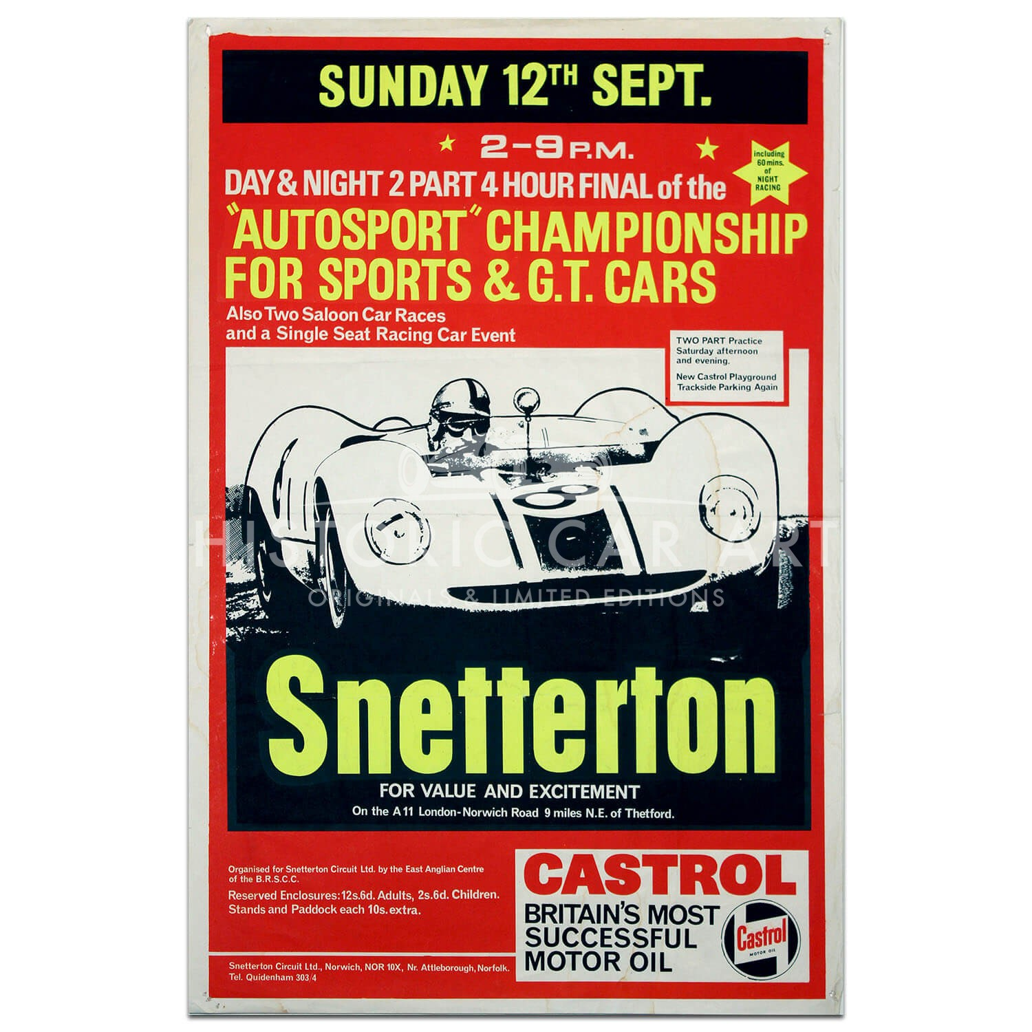 British | Snetterton Autosport Championship for Sports and GT cars Race 1965 Poster