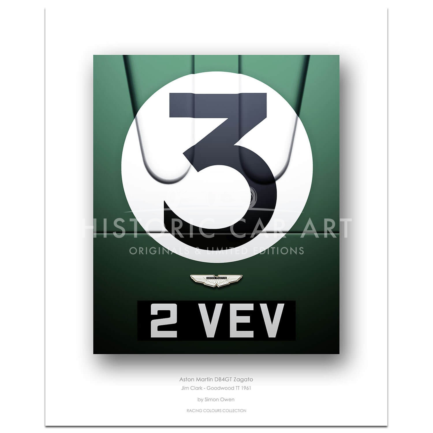 1961 Aston Martin DB4GT Zagato (Jim Clark / Goodwood / 2 VEV) - Print