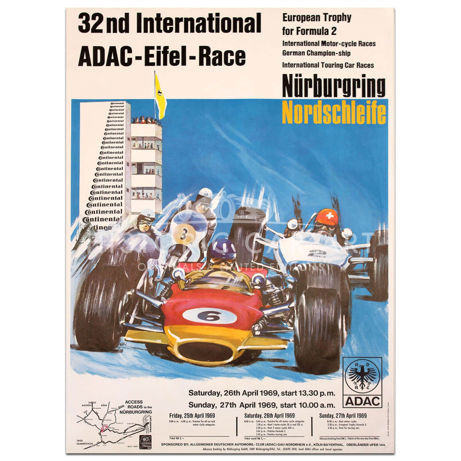 German | ADAC 32nd International Eifel Race 1969 Nurburgring Poster (Eng. Lang)