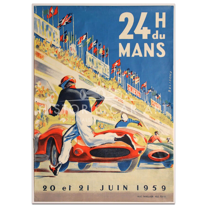 1959 Monaco French Grand Prix Art Automobile Race Advertisement Vintage Poster