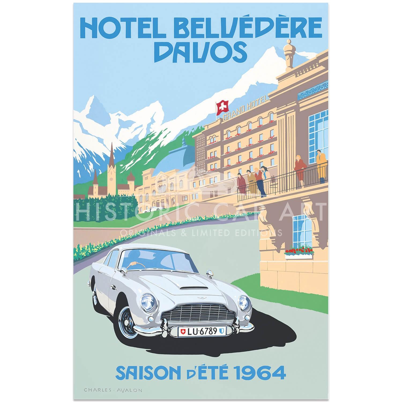 Charles Avalon Aston Martin Db5 Hotel Belvédère Davos Poster