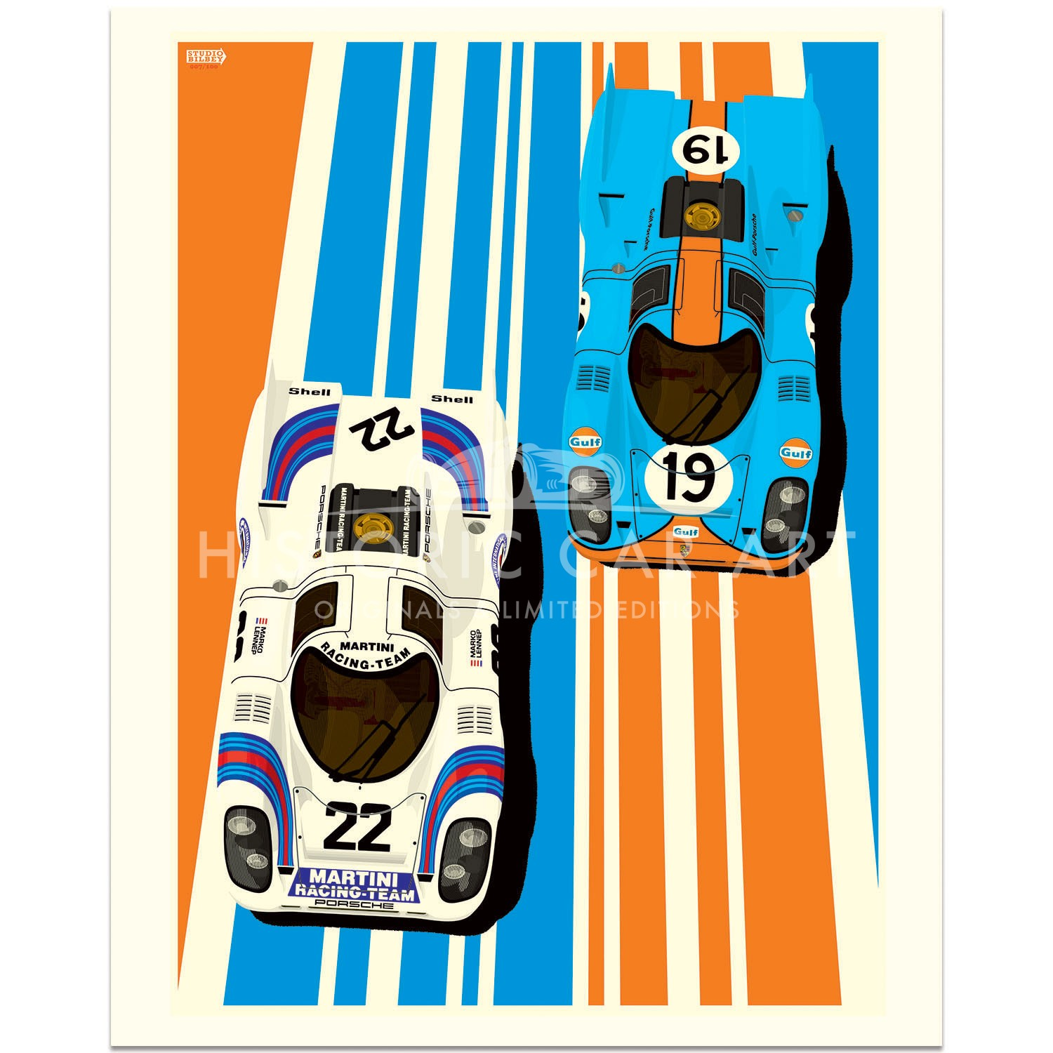 Famous Liveries: Porsche 917 | Martini & Gulf Oil | Art Print